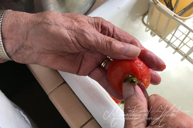 Midwestern at Heart: destemming tomatoes after they have been scalded