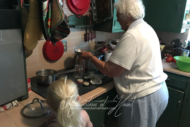Midwestern at Heart: Great grandma teaching great granddaughter how to can tomatoes.
