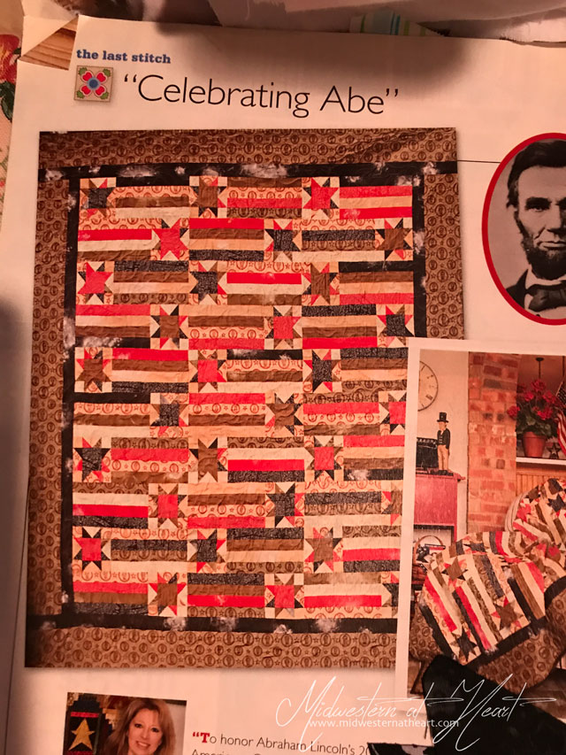 Celebrating Abe advertisement for quilt
