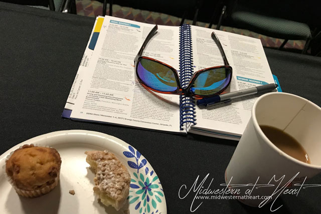 Prepared for learning with donuts, muffins, coffee, and notebooks.