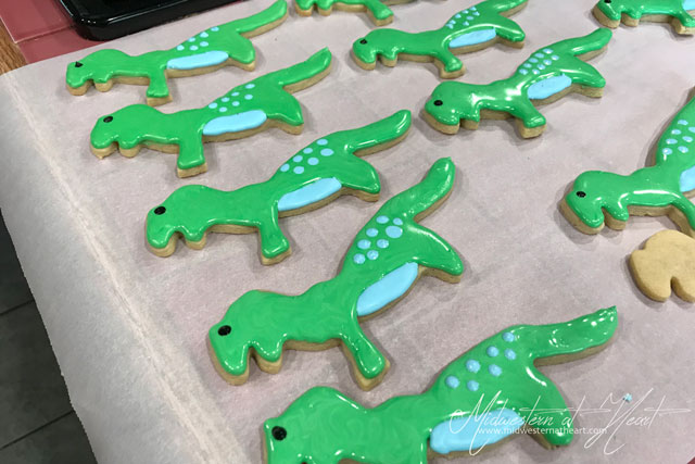 Green and blue Dinosaur Sugar Cookies